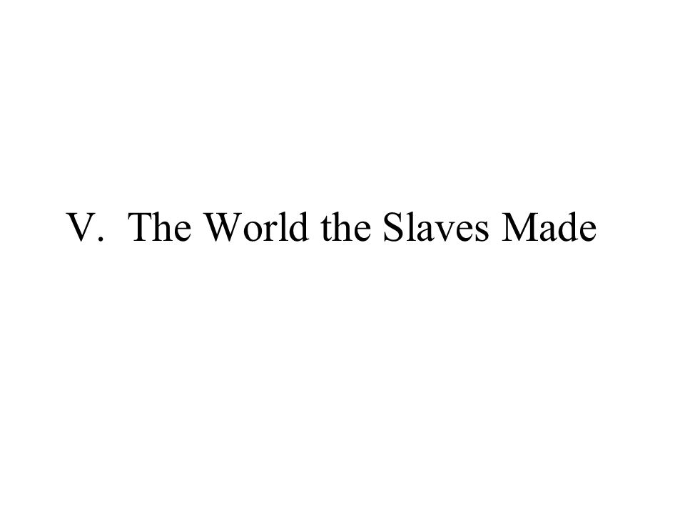 V. The World the Slaves Made