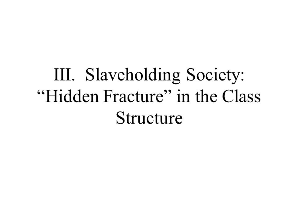 III. Slaveholding Society: Hidden Fracture in the Class Structure
