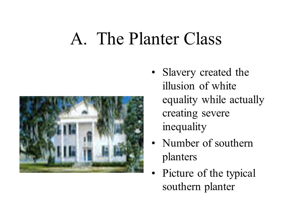 A. The Planter Class Slavery created the illusion of white equality while actually creating severe inequality Number of southern planters Picture of t