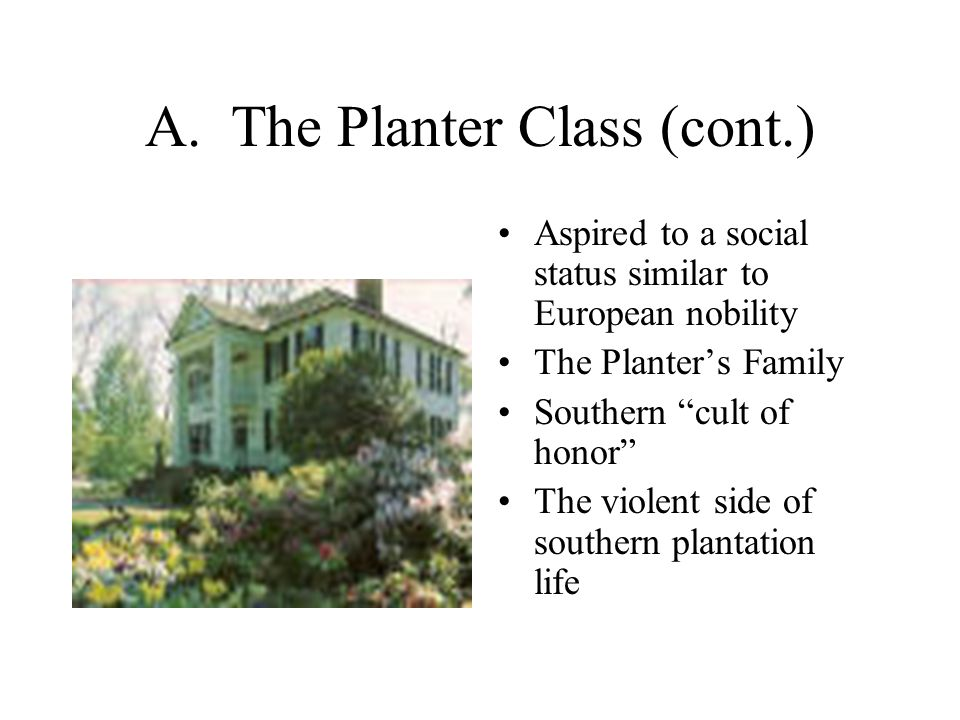 """A. The Planter Class (cont.) Aspired to a social status similar to European nobility The Planter's Family Southern """"cult of honor"""" The violent side of"""