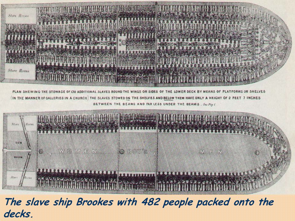 The slave ship Brookes with 482 people packed onto the decks.
