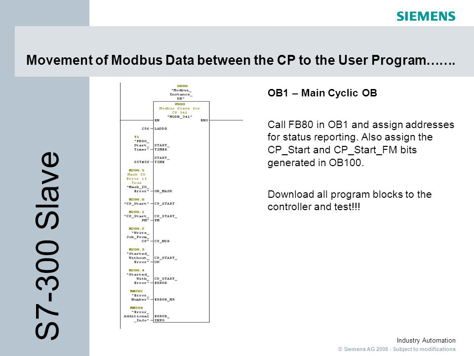 © Siemens AG 2008 - Subject to modifications Industry Automation Movement of Modbus Data between the CP to the User Program……. OB1 – Main Cyclic OB Ca