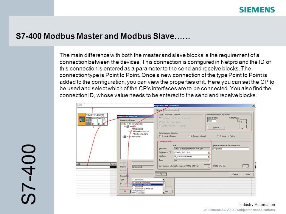 © Siemens AG 2008 - Subject to modifications Industry Automation S7-400 Modbus Master and Modbus Slave…… The main difference with both the master and