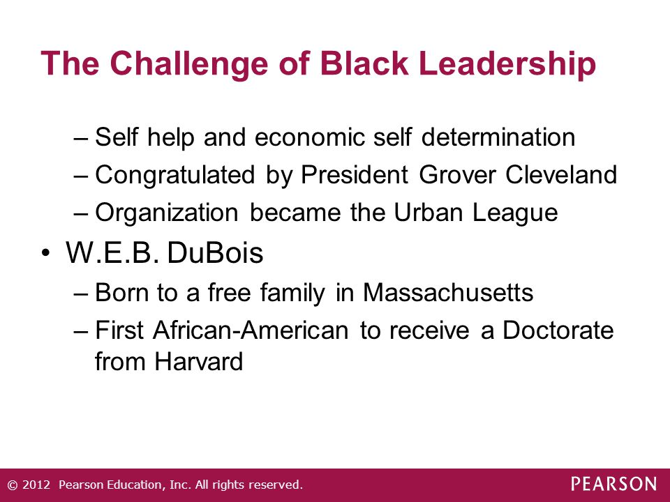 The Challenge of Black Leadership –Self help and economic self determination –Congratulated by President Grover Cleveland –Organization became the Urb