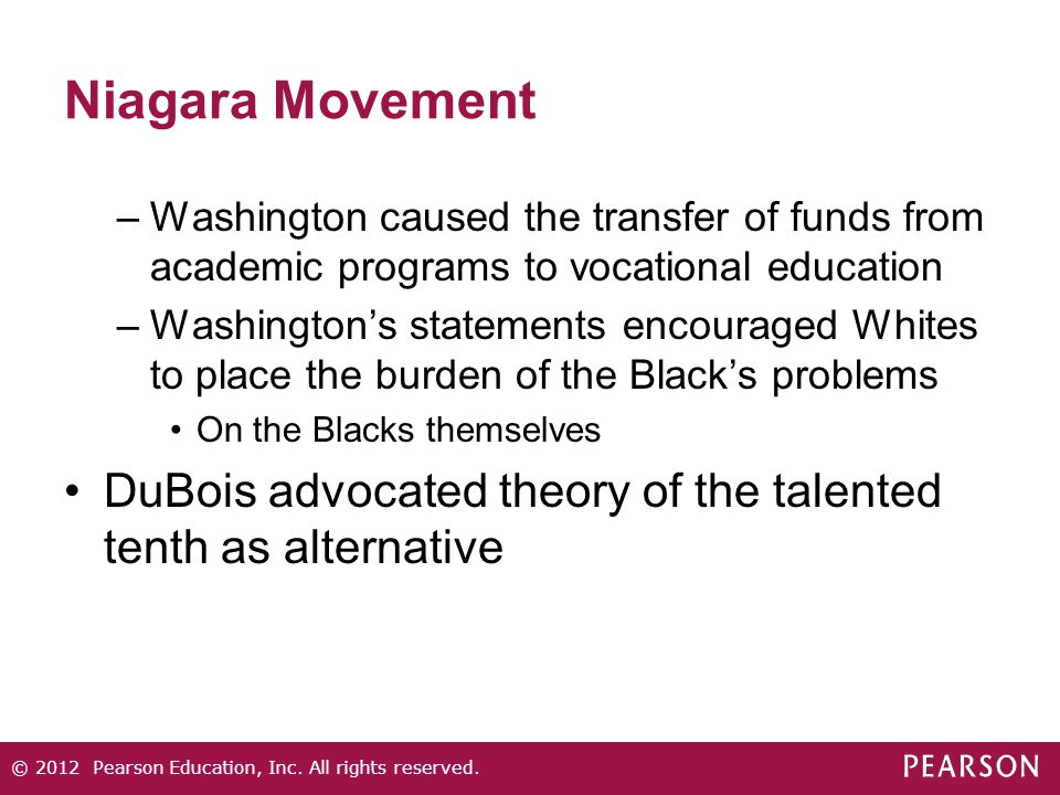 Niagara Movement –Washington caused the transfer of funds from academic programs to vocational education –Washington's statements encouraged Whites to