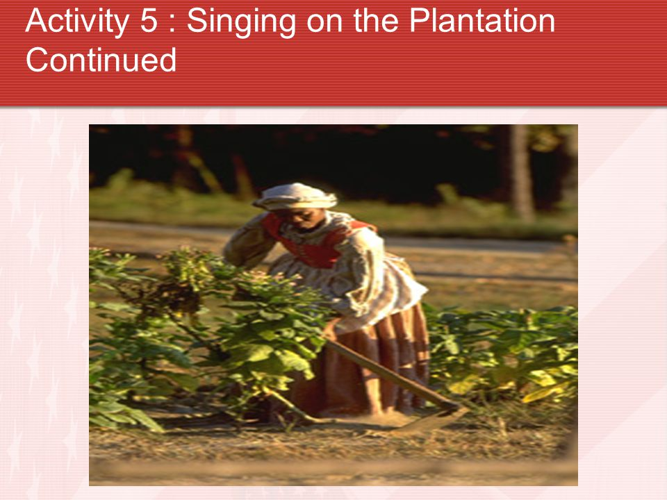 Activity 5 : Singing on the Plantation Continued