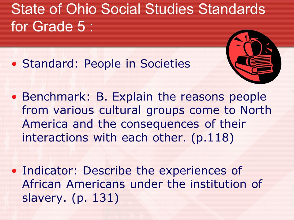 State of Ohio Social Studies Standards for Grade 5 : Standard: People in Societies Benchmark: B.