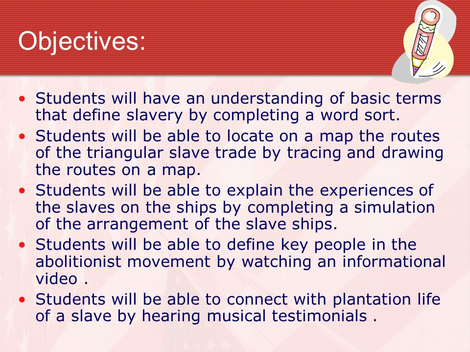 Objectives: Students will have an understanding of basic terms that define slavery by completing a word sort.