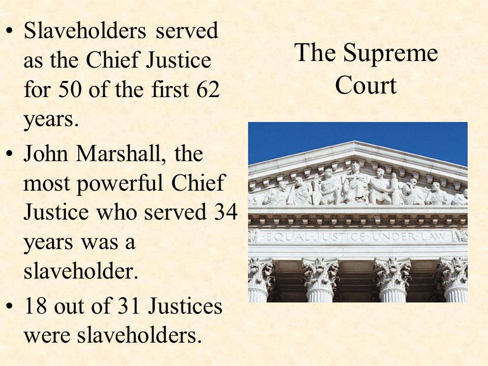 The Supreme Court Slaveholders served as the Chief Justice for 50 of the first 62 years.