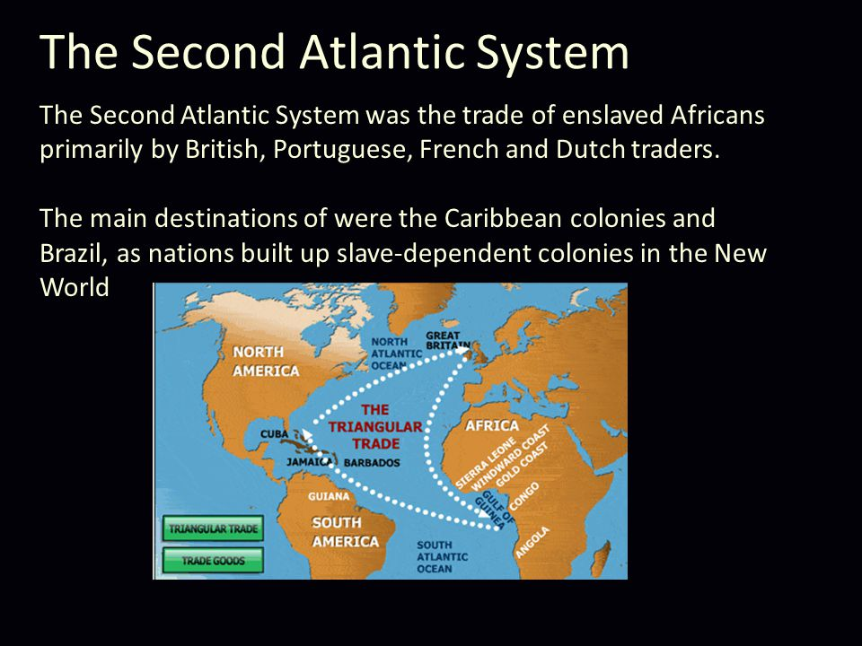 The Second Atlantic System The Second Atlantic System was the trade of enslaved Africans primarily by British, Portuguese, French and Dutch traders.