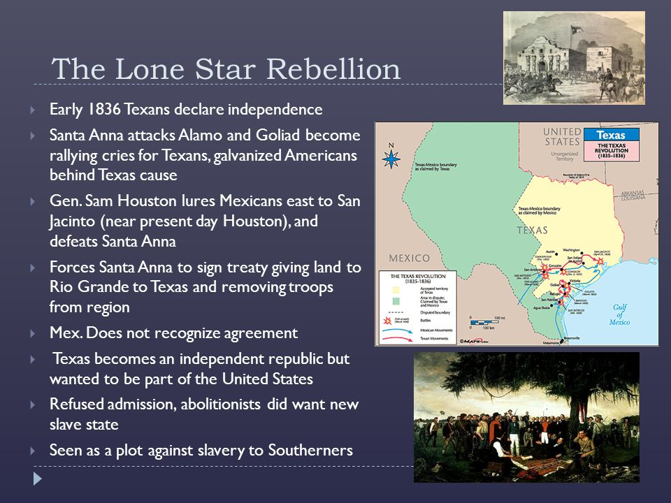 The Lone Star Rebellion  Early 1836 Texans declare independence  Santa Anna attacks Alamo and Goliad become rallying cries for Texans, galvanized Americans behind Texas cause  Gen.