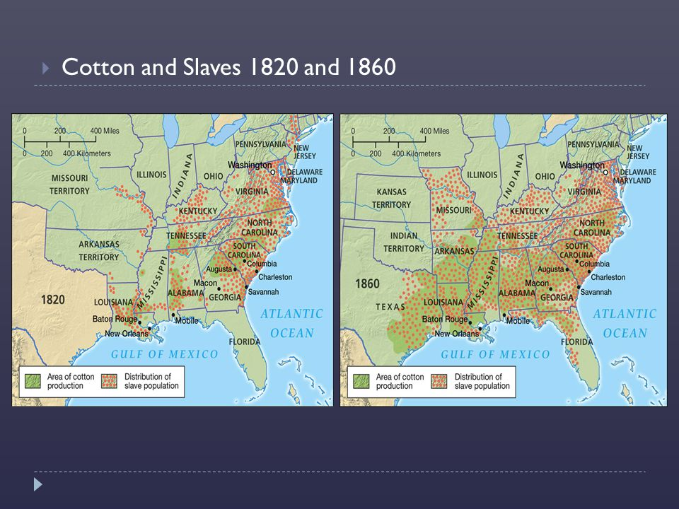  Cotton and Slaves 1820 and 1860