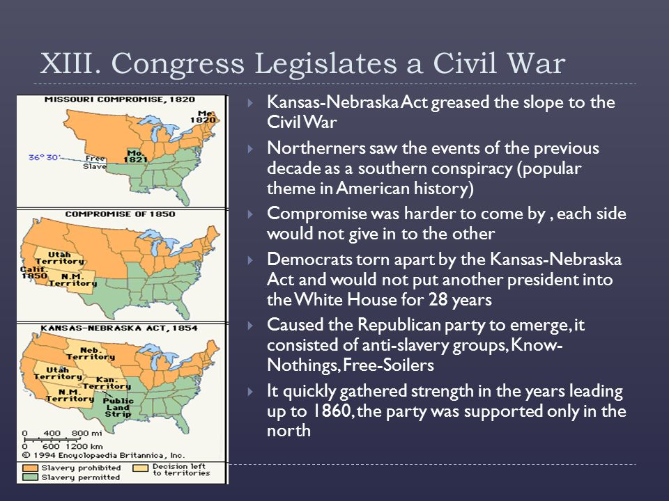 XIII. Congress Legislates a Civil War  Kansas-Nebraska Act greased the slope to the Civil War  Northerners saw the events of the previous decade as