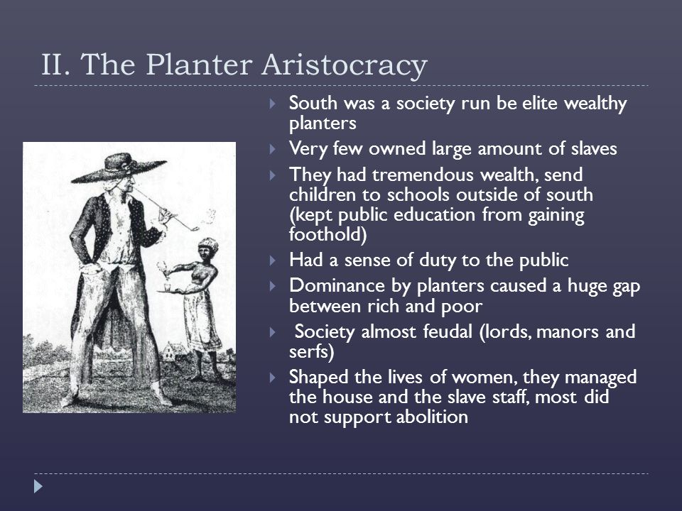 II. The Planter Aristocracy  South was a society run be elite wealthy planters  Very few owned large amount of slaves  They had tremendous wealth,