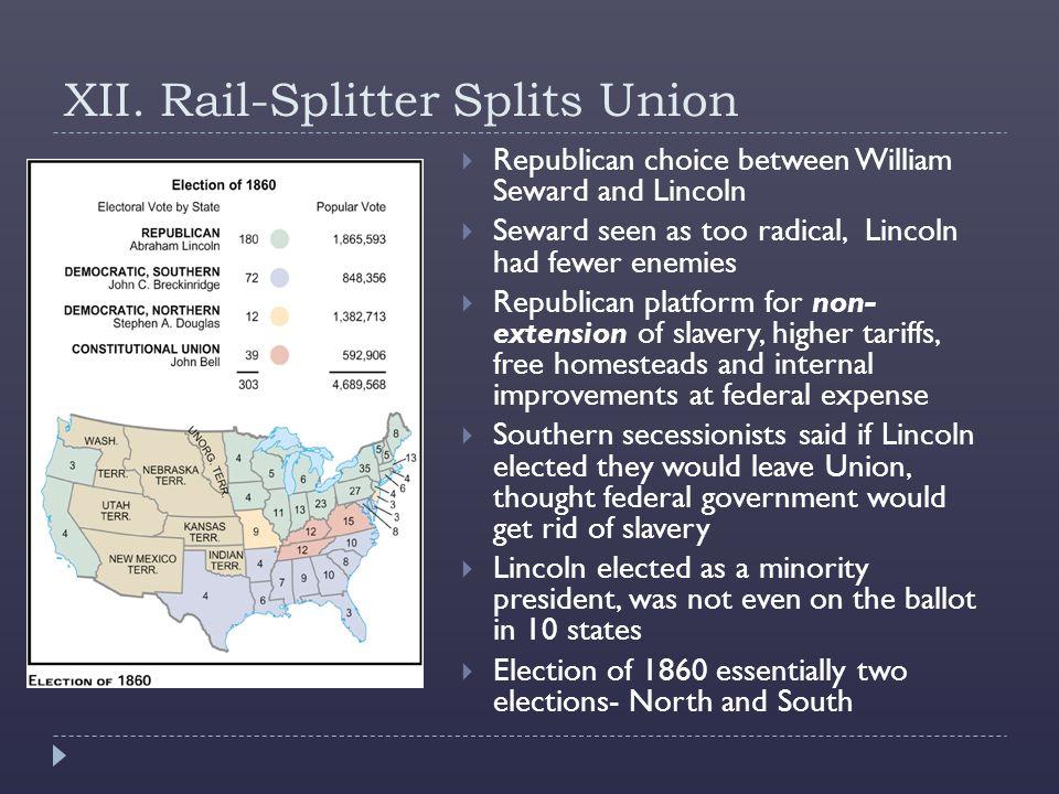 XII. Rail-Splitter Splits Union  Republican choice between William Seward and Lincoln  Seward seen as too radical, Lincoln had fewer enemies  Repub