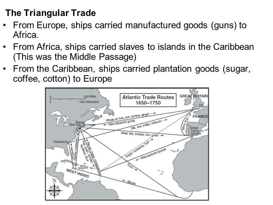 The Triangular Trade From Europe, ships carried manufactured goods (guns) to Africa.