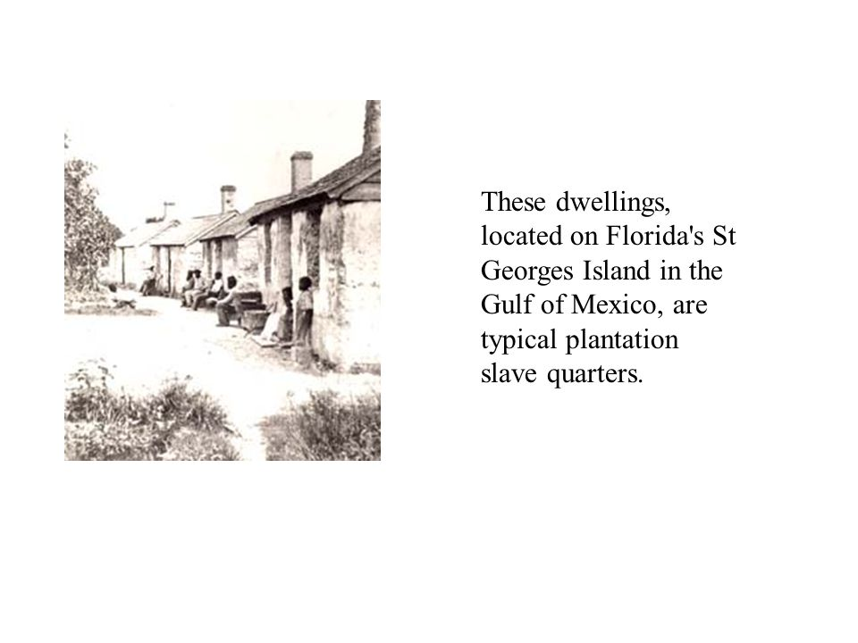 These dwellings, located on Florida s St Georges Island in the Gulf of Mexico, are typical plantation slave quarters.