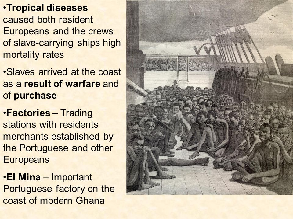 Tropical diseases caused both resident Europeans and the crews of slave-carrying ships high mortality rates Slaves arrived at the coast as a result of