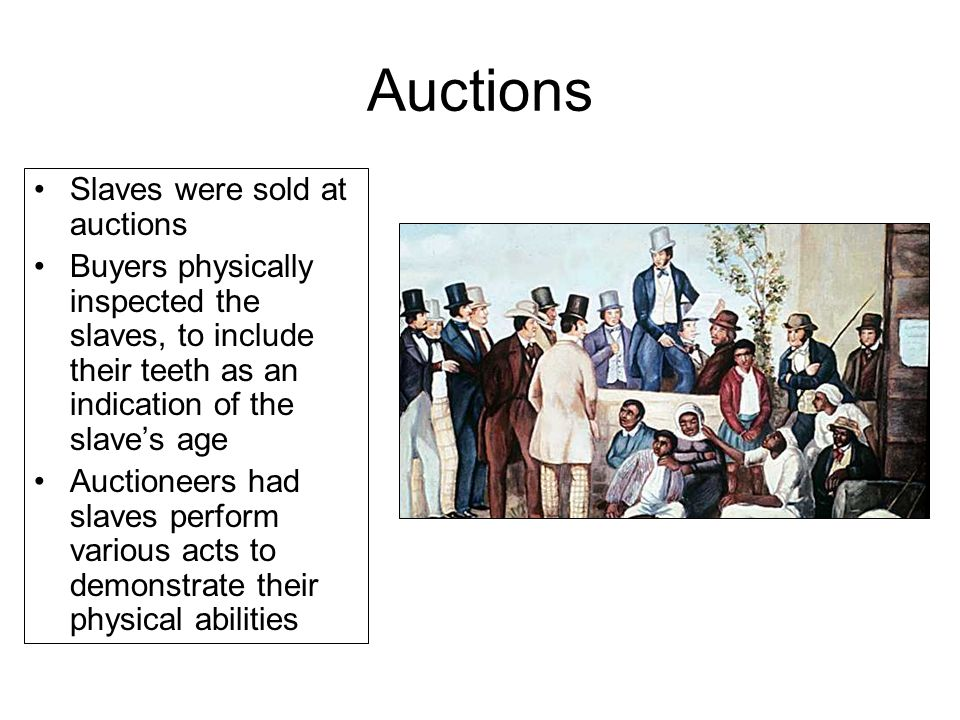 Auctions Slaves were sold at auctions Buyers physically inspected the slaves, to include their teeth as an indication of the slave's age Auctioneers h