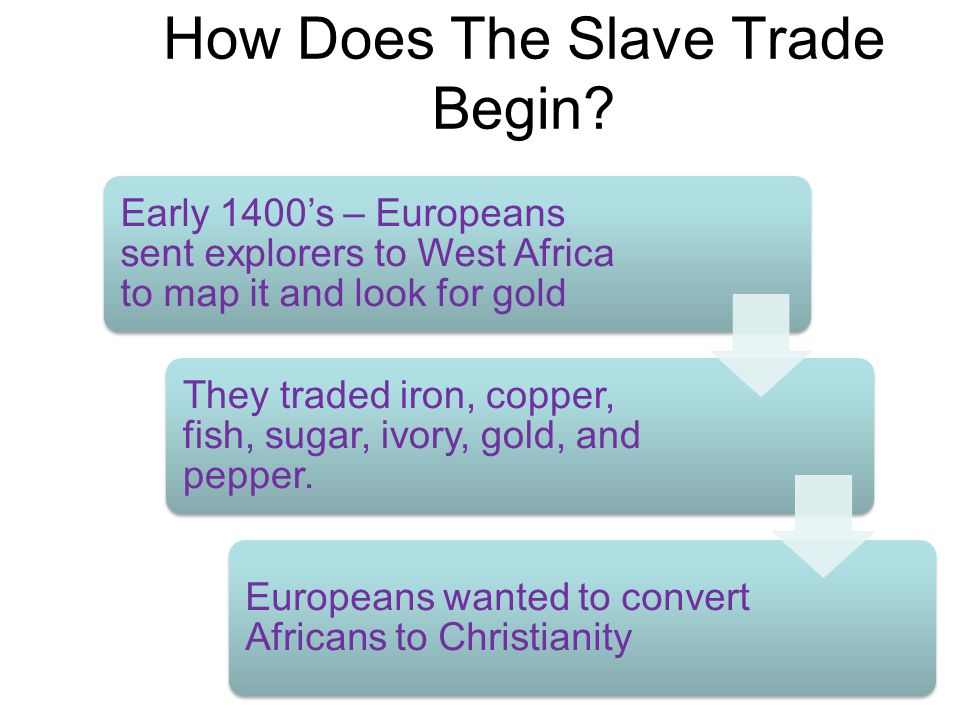 How Does The Slave Trade Begin? Early 1400's – Europeans sent explorers to West Africa to map it and look for gold They traded iron, copper, fish, sug