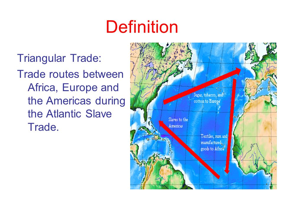 Triangular Trade The demand for labor in the western hemisphere stimulated a profitable three- legged trading pattern –European manufactured goods, namely cloth and metal wares, especially firearms, went to Africa where they were exchanged for slaves –The slaves were then shipped to the Caribbean and Americas where they were sold for cash or sometimes bartered for sugar or molasses –Then the ships returned to Europe loaded with American products