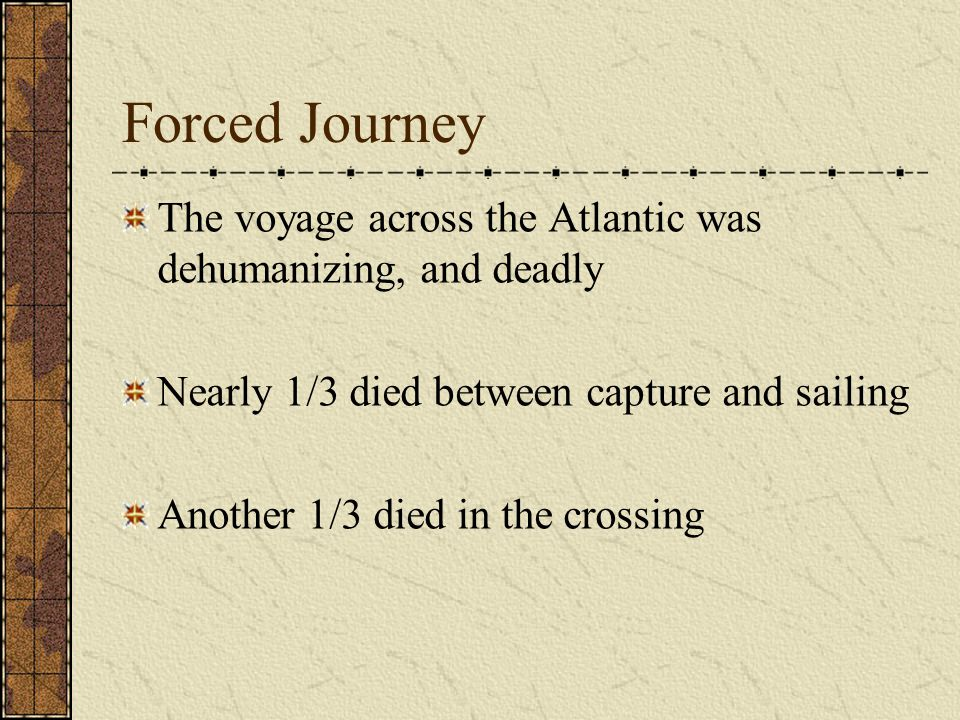 Forced Journey The voyage across the Atlantic was dehumanizing, and deadly Nearly 1/3 died between capture and sailing Another 1/3 died in the crossing