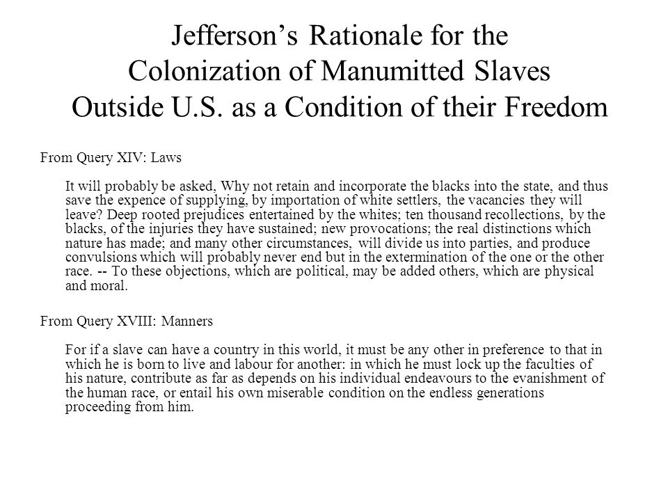 Jefferson's Rationale for the Colonization of Manumitted Slaves Outside U.S.