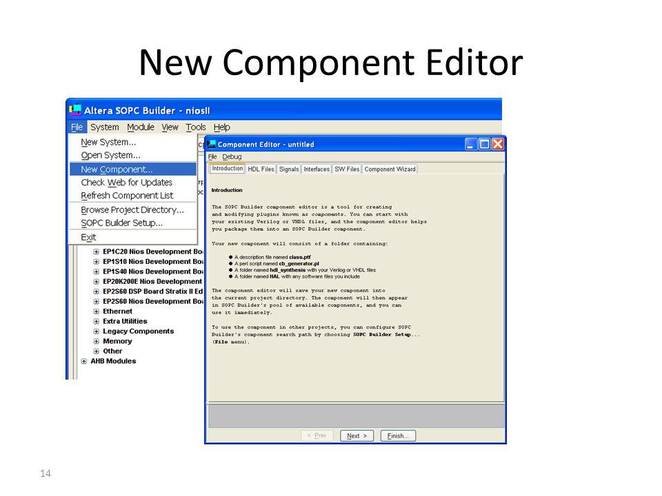 14 New Component Editor