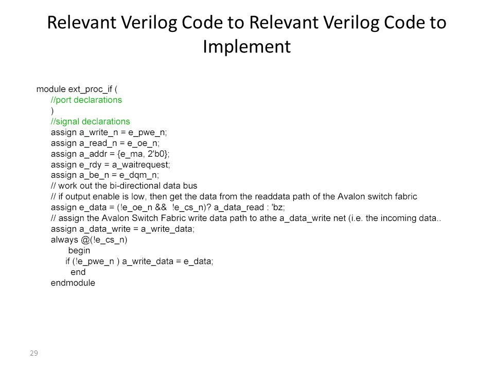 29 Relevant Verilog Code to Relevant Verilog Code to Implement