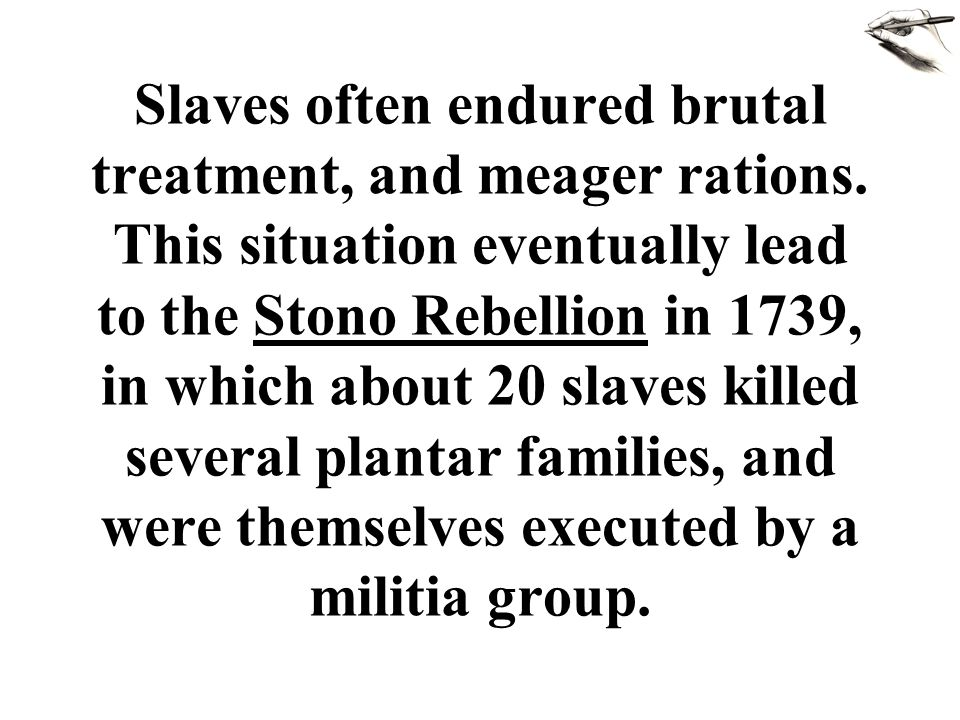 Slaves often endured brutal treatment, and meager rations. This situation eventually lead to the Stono Rebellion in 1739, in which about 20 slaves kil