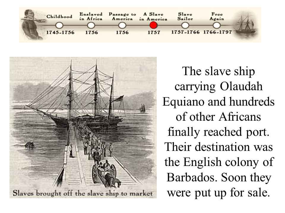 The slave ship carrying Olaudah Equiano and hundreds of other Africans finally reached port.