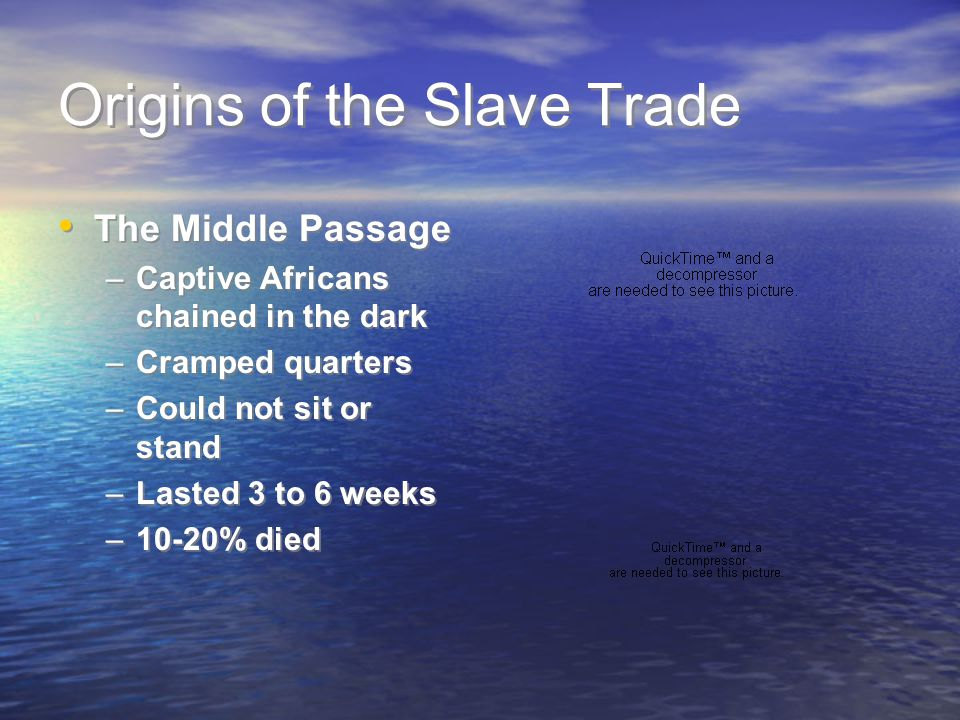 Origins of the Slave Trade The Middle Passage –Captive Africans chained in the dark –Cramped quarters –Could not sit or stand –Lasted 3 to 6 weeks –10