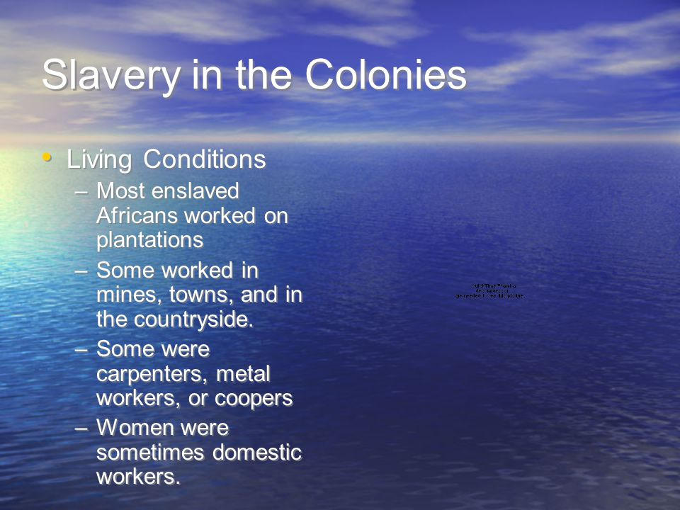 Slavery in the Colonies Living Conditions –Most enslaved Africans worked on plantations –Some worked in mines, towns, and in the countryside. –Some we