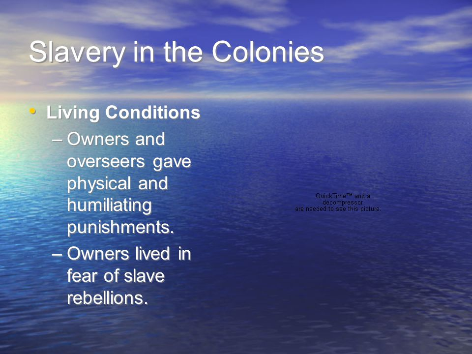 Slavery in the Colonies Living Conditions –Owners and overseers gave physical and humiliating punishments. –Owners lived in fear of slave rebellions.