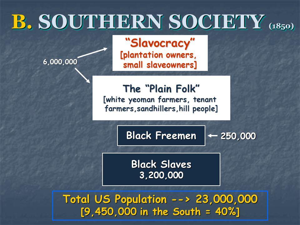 "B. SOUTHERN SOCIETY (1850) ""Slavocracy"" [plantation owners, small slaveowners] The ""Plain Folk"" [white yeoman farmers, tenant farmers,sandhillers,hill"