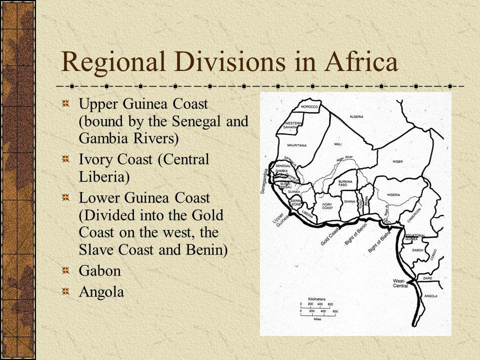Regional Divisions in Africa Upper Guinea Coast (bound by the Senegal and Gambia Rivers) Ivory Coast (Central Liberia) Lower Guinea Coast (Divided int