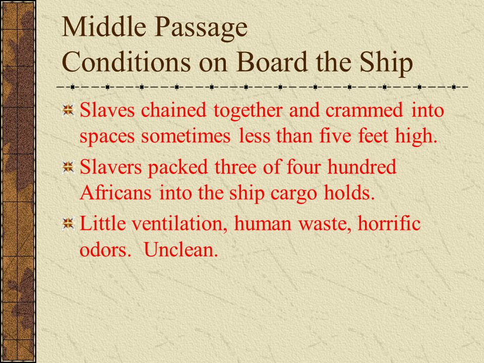 Middle Passage Conditions on Board the Ship Slaves chained together and crammed into spaces sometimes less than five feet high.