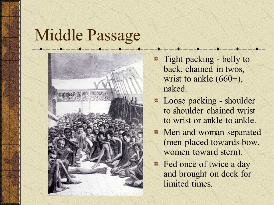 Middle Passage Tight packing - belly to back, chained in twos, wrist to ankle (660+), naked. Loose packing - shoulder to shoulder chained wrist to wri