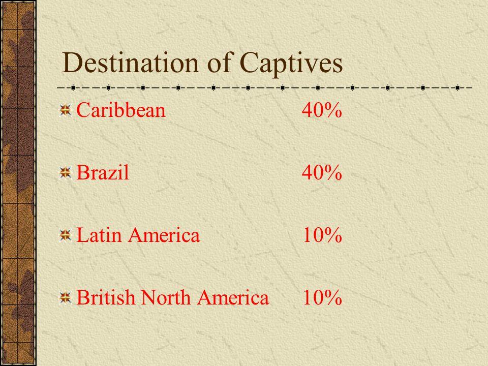 Destination of Captives Caribbean 40% Brazil40% Latin America10% British North America 10%