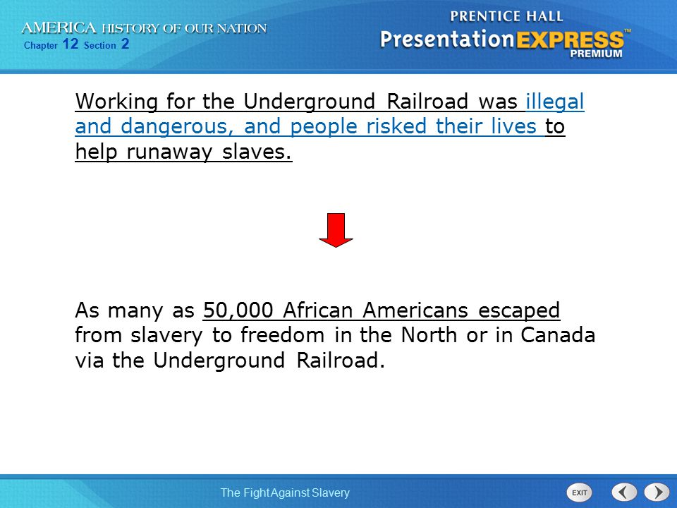 Chapter 12 Section 2 The Fight Against Slavery Working for the Underground Railroad was illegal and dangerous, and people risked their lives to help r