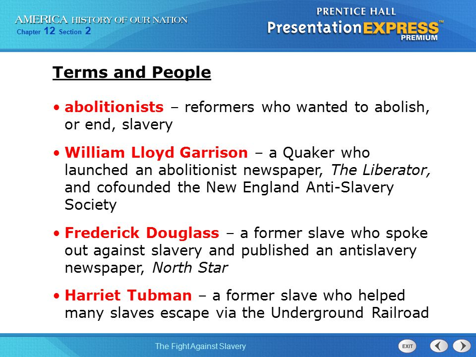 Chapter 12 Section 2 The Fight Against Slavery Set Questions: Think back to Section 1 Page 414 1.List three social reform movements during this time period.