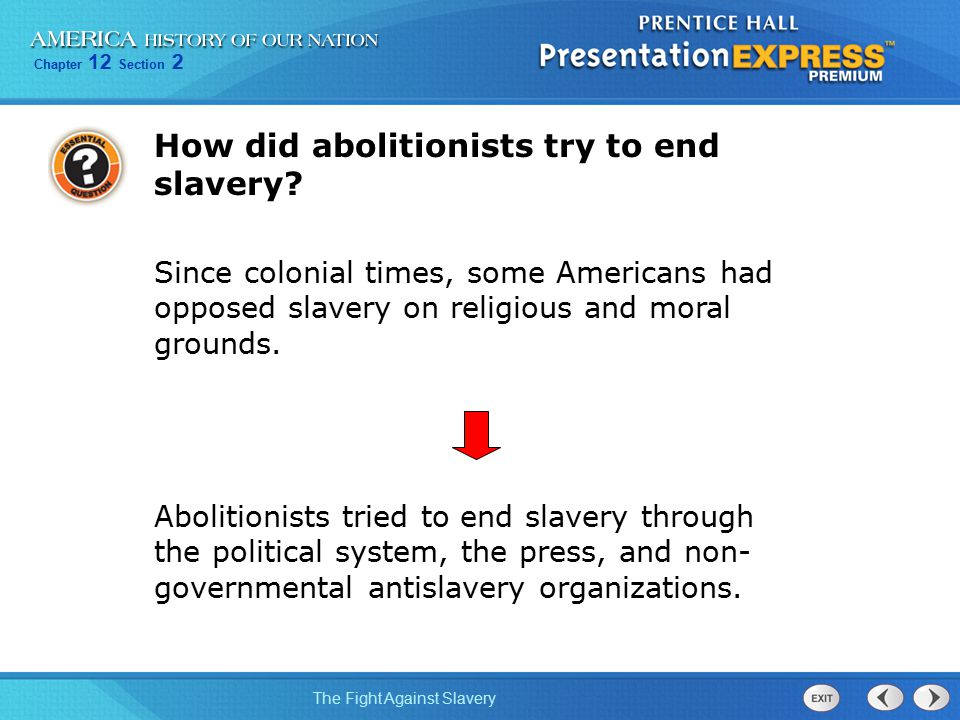Chapter 12 Section 2 The Fight Against Slavery How did abolitionists try to end slavery? Since colonial times, some Americans had opposed slavery on r