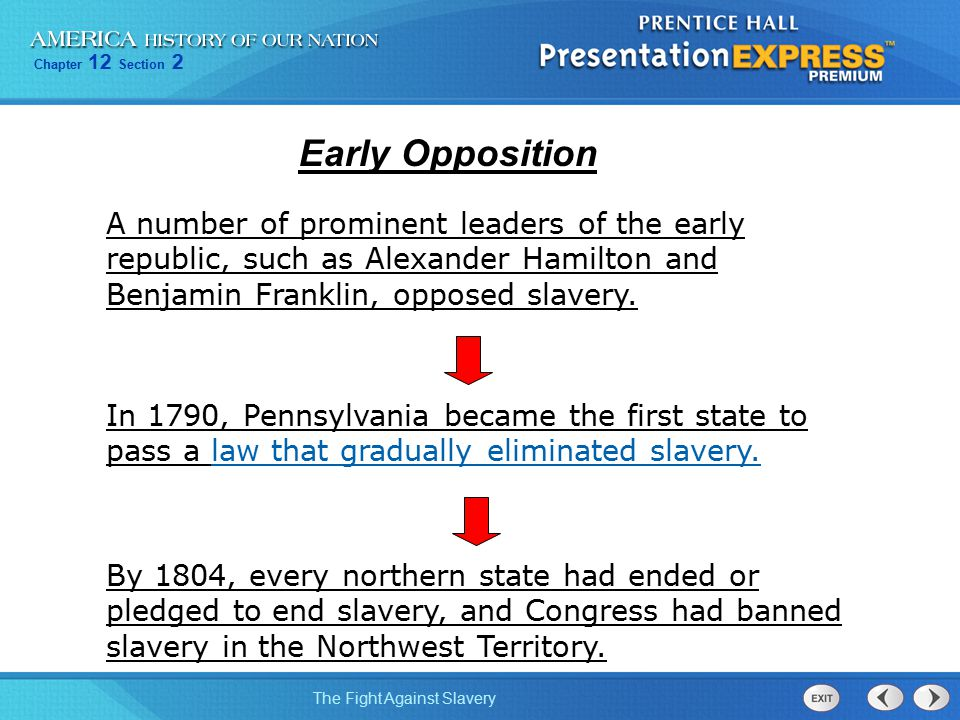 Chapter 12 Section 2 The Fight Against Slavery In 1790, Pennsylvania became the first state to pass a law that gradually eliminated slavery. A number