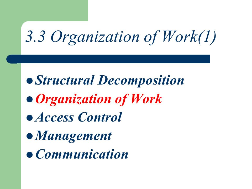 3.3 Organization of Work(1) Structural Decomposition Organization of Work Access Control Management Communication