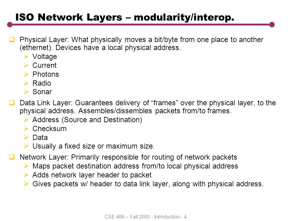 CSE 466 – Fall 2000 - Introduction - 5 ISO Layers Continued  Transport Layer: responsible for end-to-end protocol of user data buffer transmissions.