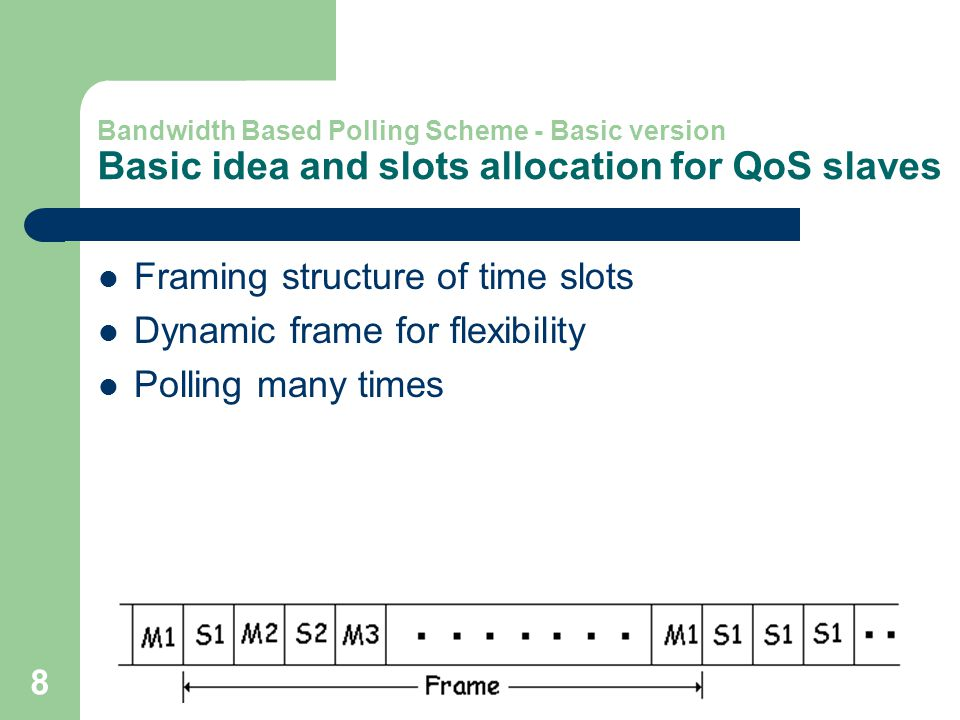 8 Bandwidth Based Polling Scheme - Basic version Basic idea and slots allocation for QoS slaves Framing structure of time slots Dynamic frame for flexibility Polling many times