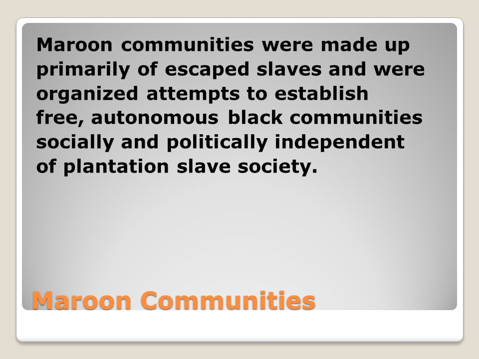 Maroon Communities Maroon communities were made up primarily of escaped slaves and were organized attempts to establish free, autonomous black communities socially and politically independent of plantation slave society.