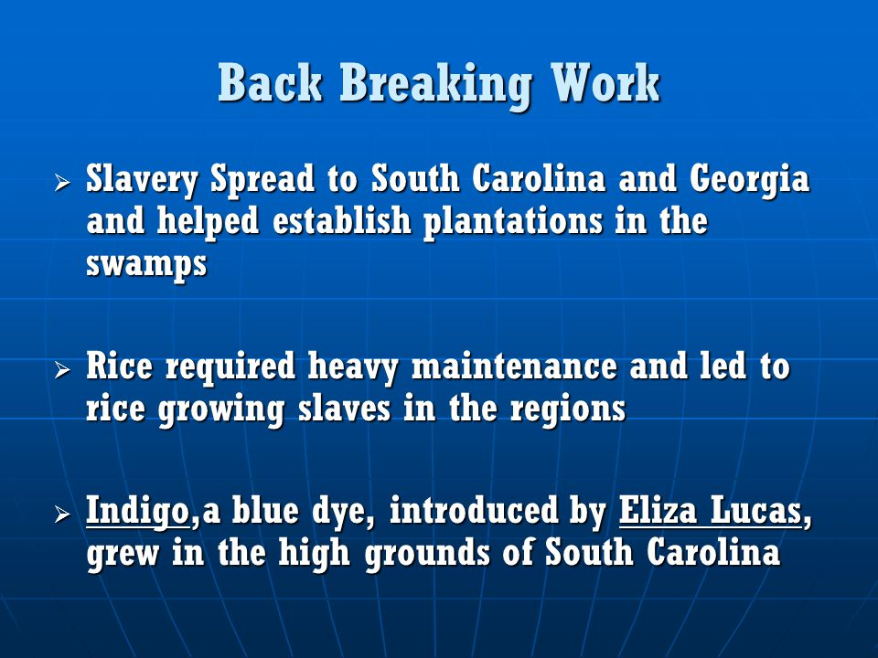 Back Breaking Work  Slavery Spread to South Carolina and Georgia and helped establish plantations in the swamps  Rice required heavy maintenance and