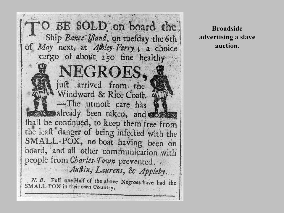 Broadside advertising a slave auction.