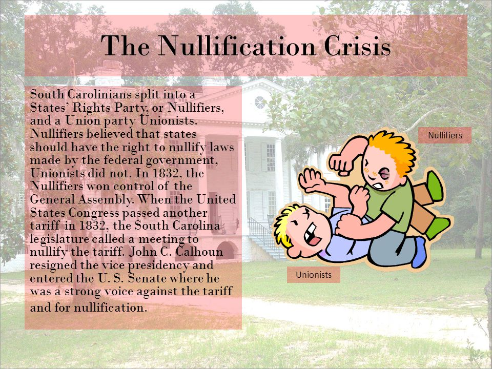 The Nullification Crisis South Carolinians split into a States' Rights Party, or Nullifiers, and a Union party Unionists. Nullifiers believed that sta
